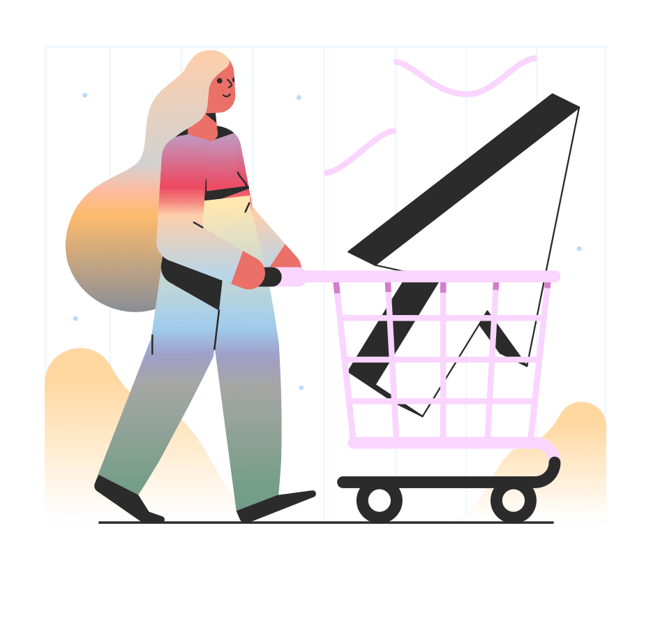 Movie Producer with Shopping cart finding assets for her movie