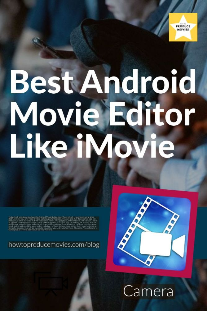 Best android Movie Editor Like IMovie with Powerdirector Logo and hands holding cellhpones